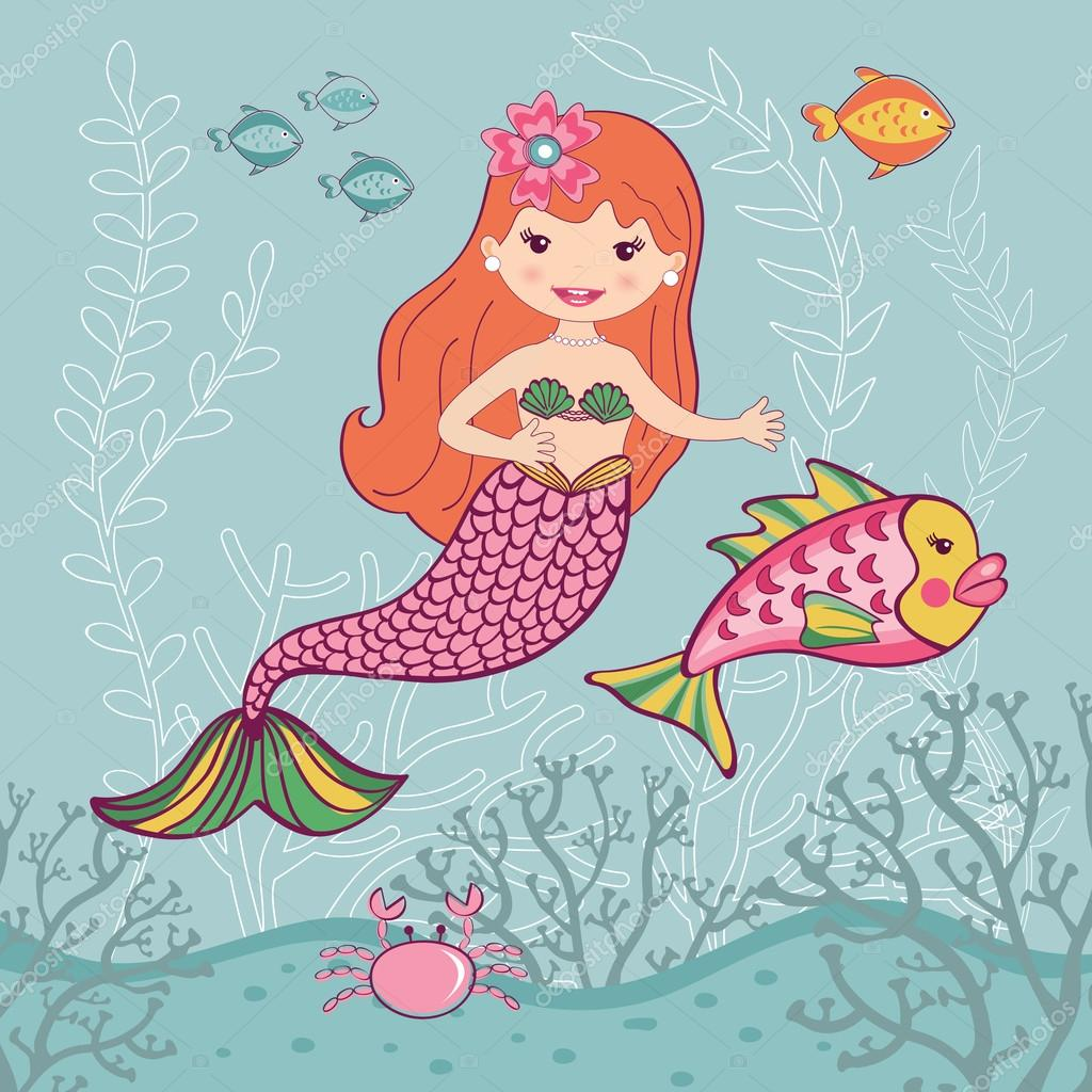 Little mermaid and big fish