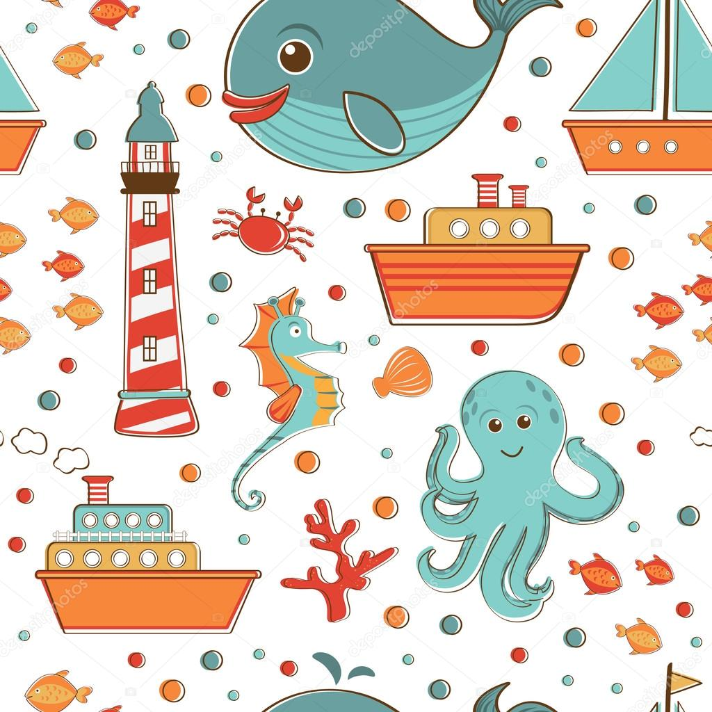 Marine seamless pattern with sea related items