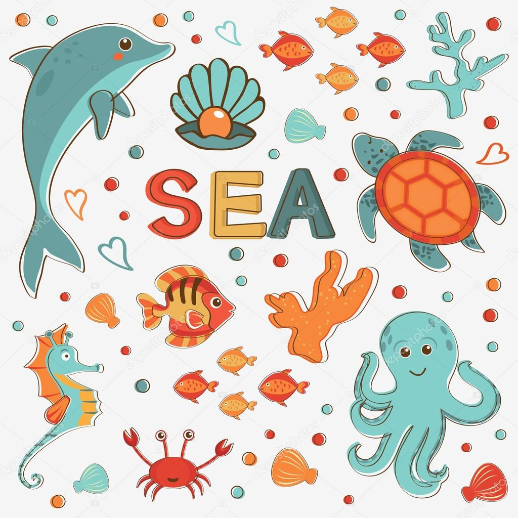Sea creatures colorful collection