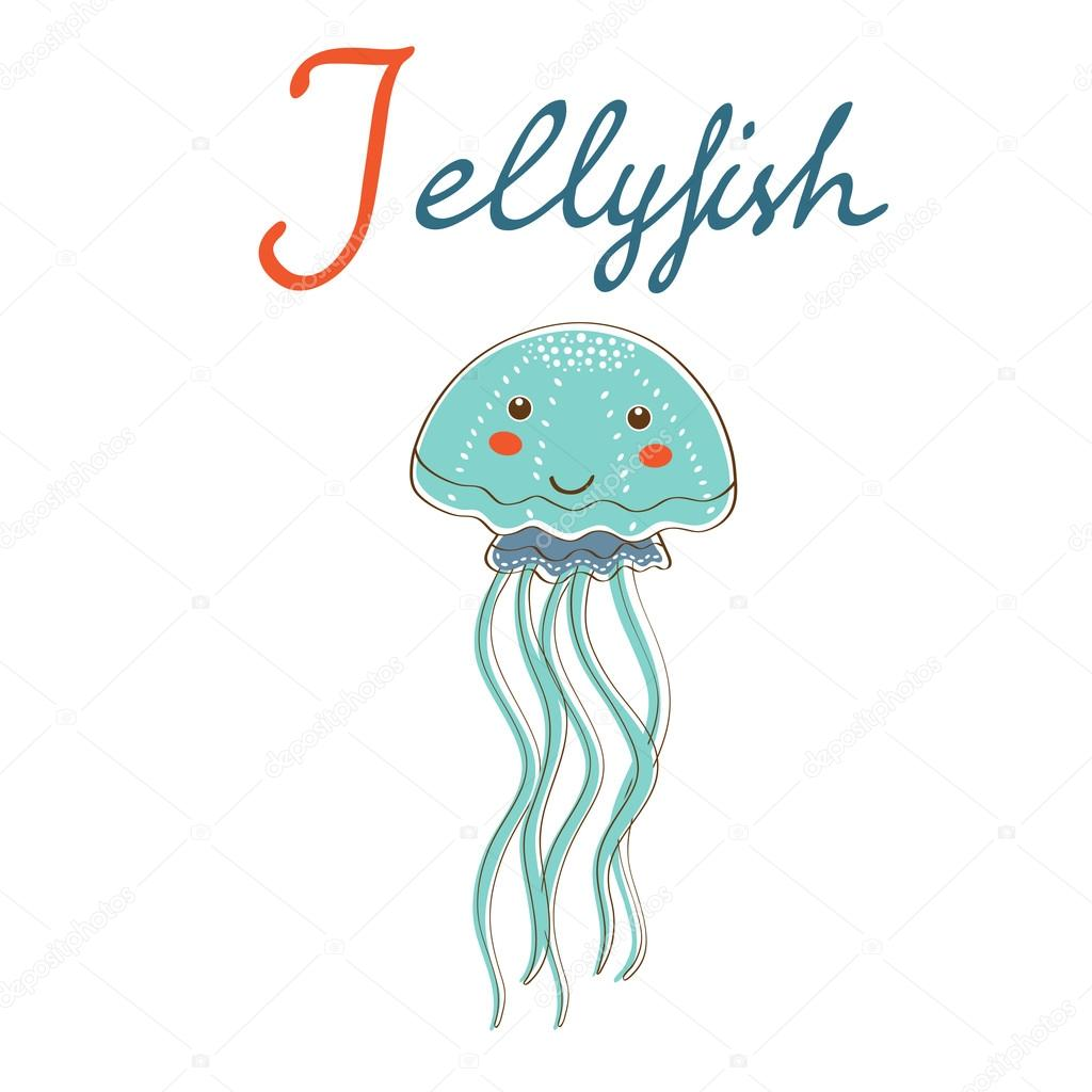 Illustration of J is for Jellyfish. Vector format