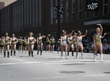 Purdue University Cheerleaders at the 500 Festival Parade at Downtown Indy