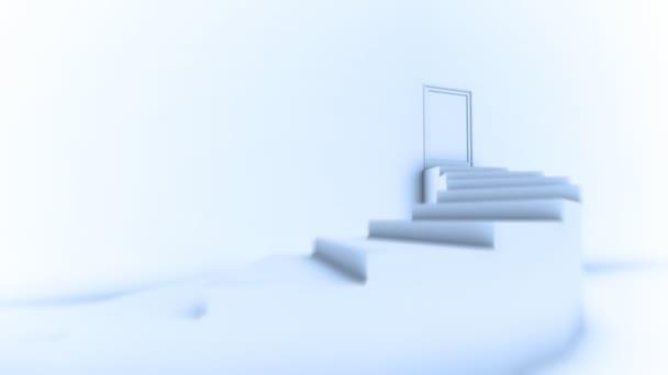 stoupání na vrchol schodiště. otevírání dveří do světlé světa