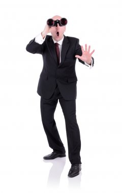 surprised businessman with Binoculars