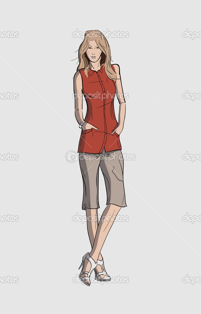 Mujer Y Larga Pantalones Cortos En Blusa Una wwqR1S8
