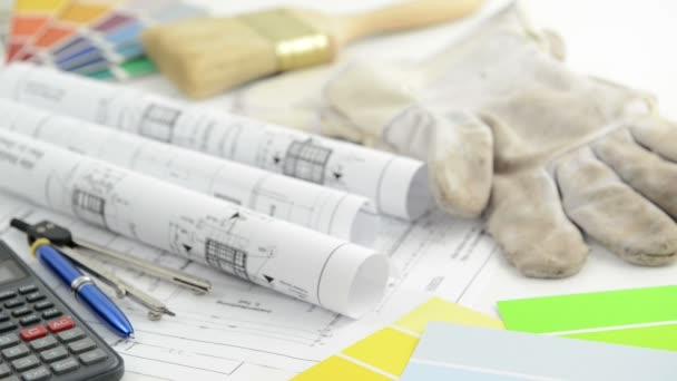 ceny architektonické kreslení blueprint s kalkulačka pracovní rukavice a barvy pro malování