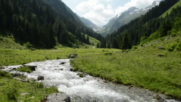Stream water and landsape of Schwarzach Valley at Zillertal Alps