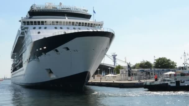 In the cruise ship port the Constellation cruise ship is at anchor.