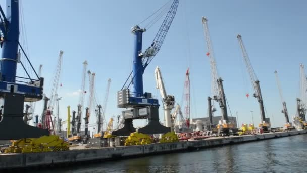 Liebherr crane manufacturing factory in Rostock sea port. . Located at Warnemuende on August 02, 2013