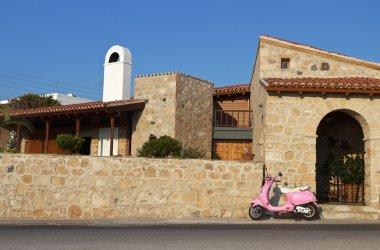 Picturesque street at Aegina island in Greece