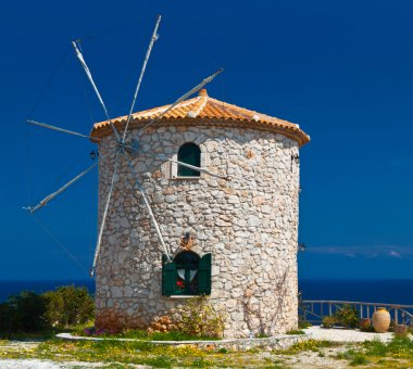 Traditional windmill at Zakynthos island in Greece