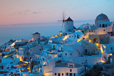 Santorini island in Greece during sunset