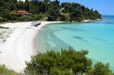 Scenic beach at Sithonia of Halkidiki peninsula in Greece