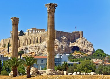 Temple of Olympian Zeus and the Acropolis in Athens, Greece