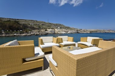 Luxury chill out summer bar at Rhodes island, Greece