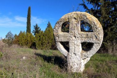 Medieval cemetery with celtic crosses in Europe
