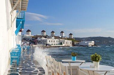 Travel destination of Mykonos island in Greece
