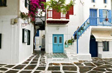 Traditional houses at Mykonos island in Greece