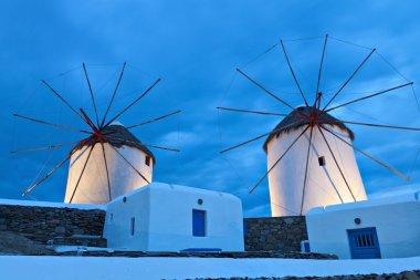 Traditional windmills at Mykonos island in Greece