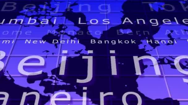 létání nad mapa světa s názvy měst