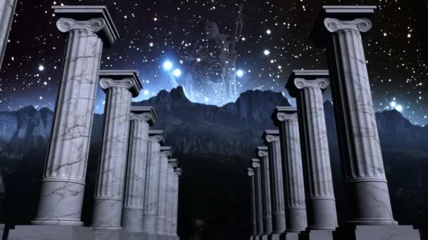řecké pilíře v kosmické scéně