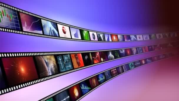 Hurok-képes film animáció orsó, kék háttérrel