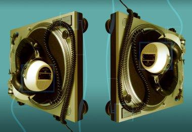 Large retro headphones on a turntable