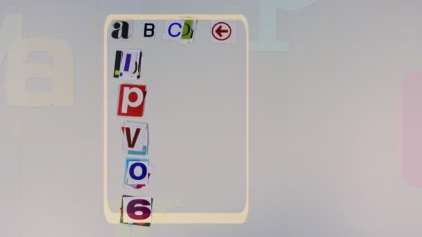 Egyedi stop motion készült kivágott papírdarabokat ábécé