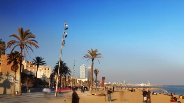 pohled na pláž v barcenoleta barcelona, Španělsko