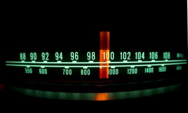 radio dial with lights