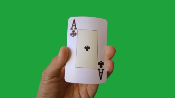 stopmotion ruky držící, hrát karty, kasino