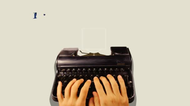Starý psací stroj s motion grafika overlayed