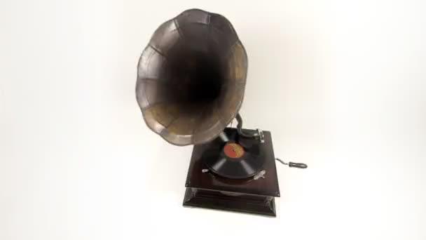 A vintage gramofon, mozgó körül