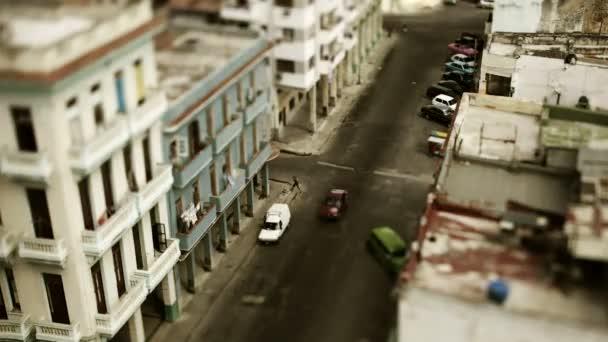 Tilt and shift timelapse looking down onto the street in havana, cuba