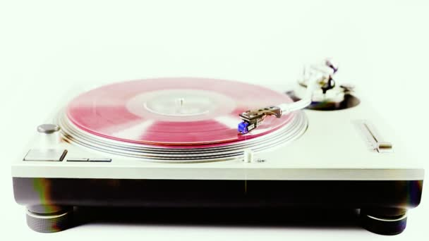 Close-up of the rings on a turntable platter, whilst spinning