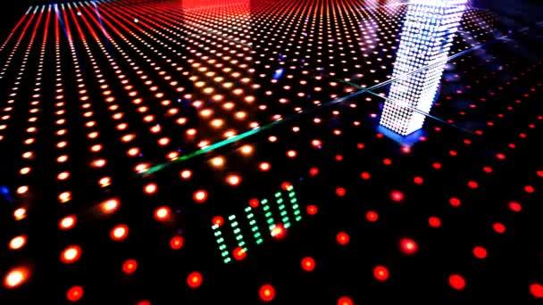 Light patterns running across an led floor