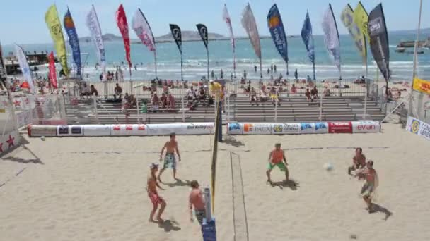 Time-lapse of beach volley game on marseille beach