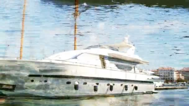 Timelapse of a large luxury yacht in marseilles vieux port harbour