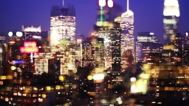 overlayed abstraktní timelapse midtown manhattan skyline
