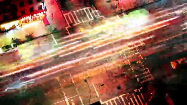 abstraktní time-lapse při pohledu dolů na newyorské ulici