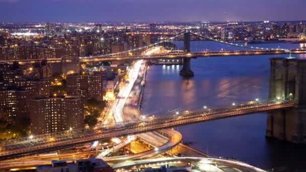 timelapse dolní manhattan skyline a brooklyn most