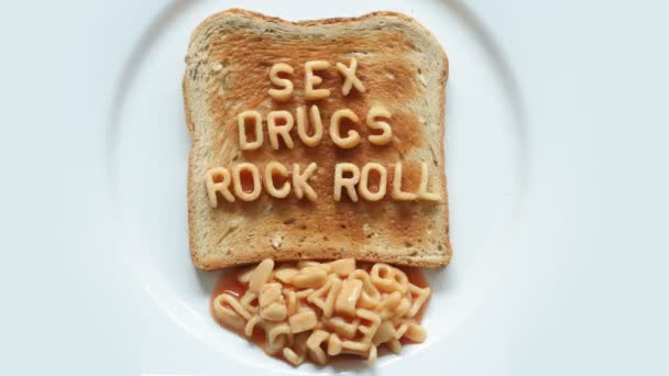 Sex, drugs and rock n roll written with spaghetti pasta letters