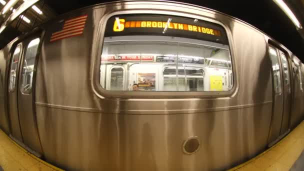 Fisheye of a new york subway train coming into the station