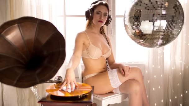 Musik Babe schön dj Frau Grammophon
