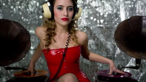 zene csaj gyönyörű dj nő gramofon