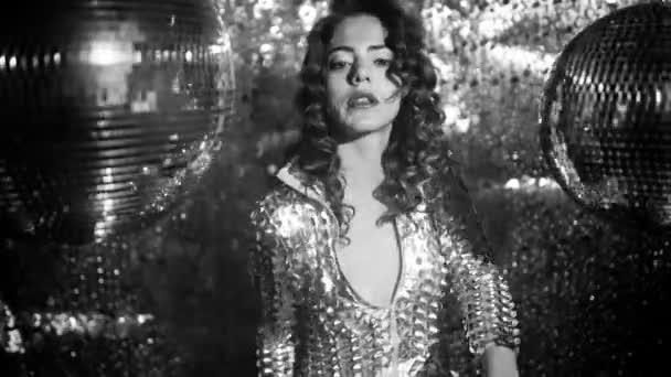 Beautiful sexy disco dancing girl in club setting