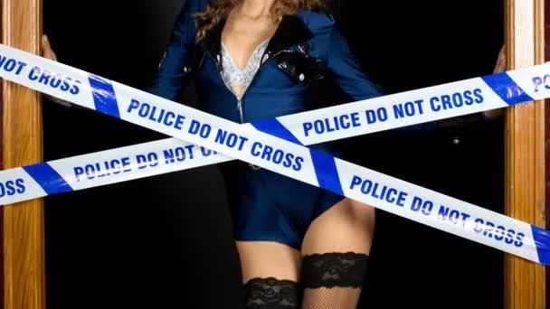 Police woman dancing and posing