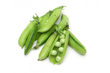 Peas on the white background