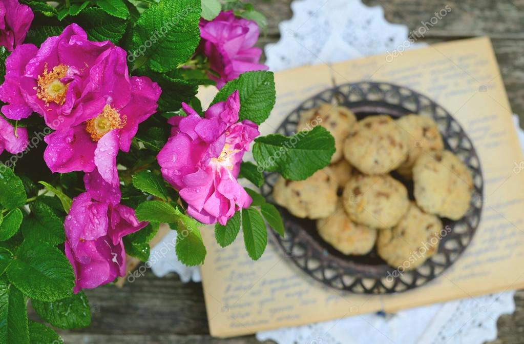 Wild rose bunch and homemade cookie