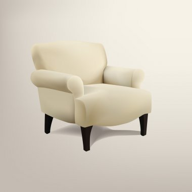 Retro cream colored armchair