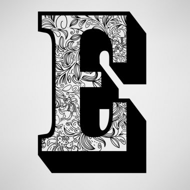Letter E - Ornamental Initial